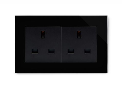 RetroTouch 13A Double Plug Socket Unswitched Black Glass PG 00654